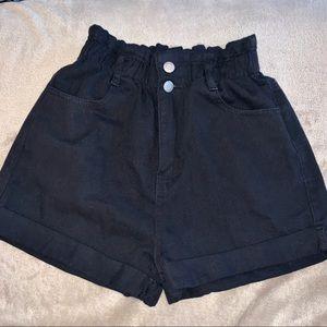 Black Denim High Waisted Paperbag Shorts